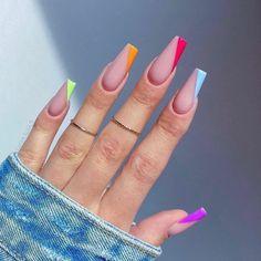 Bling Acrylic Nails, Acrylic Nails Coffin Short, Almond Acrylic Nails, Simple Acrylic Nails, Best Acrylic Nails, Short Square Acrylic Nails, Acrylic Nails For Summer, Glow Nails, Acylic Nails
