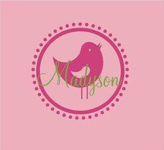 Monogram Name PERSONALIZED bird name 22x22 by ALastingExpression, $24.95