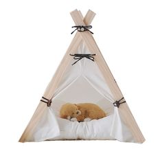 little dove Wooden Triangle Pet Kennels Pet Play House Dog Play Tent Cat Dog Bed Pure White Style Small Size >> You can find more details here : Dog kennels