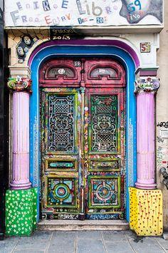 Entrance to 59 Rue de Rivoli an art collective in downtown Paris, France.