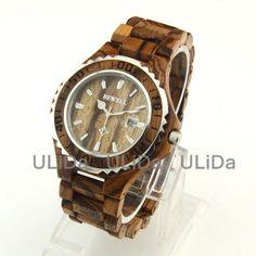 Men Wooden Watches Sandalwood 3ATM Calendar Stainless Steel Zebra wood Quartz Wrist Watch + Bamboo Box