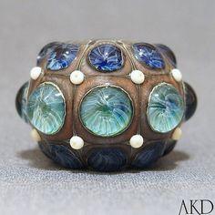 SRA Handmade Lampwork Focal Round Artisan Dot Bead by AKDlampwork, $58.00
