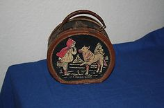 vintage leather lunch box of little red