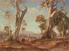 """hans heysen red gold - Saw this too, it was right next to """"The Breakaway""""; loved it and still do Australian Painting, Australian Artists, Great Paintings, Beautiful Paintings, Oil Paintings, Landscape Art, Landscape Paintings, Forest Painting, Red Gold"""