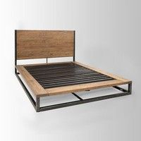 This bed frame would be so easy to construct. The frame itself is made of simple L-beams, and the headboard is easily customizable to whatever wood you find most desirable. This particular bed is from westelm.com