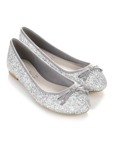 Cotswolds Crunch Glitter Ballerinas | Silver | Accessorize. Sparkly flats!