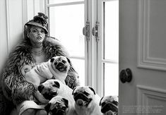A collection of pug fashion shots around the web. If only Rico could understand... Vogue Italy, shot by Steven Meisel. Via Originaux Moose