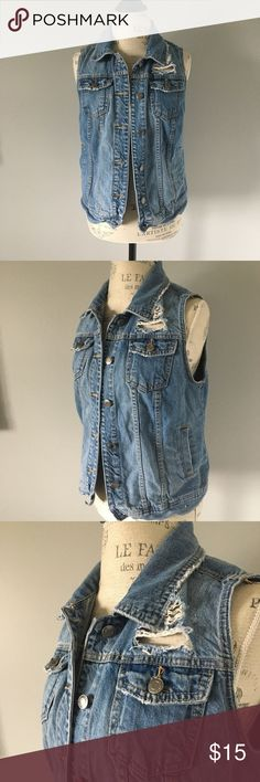 Jean distressed vest Perfect addition to any fall, spring, and summer looks!   A distressed target brand jean vest Mossimo Supply Co Jackets & Coats Vests