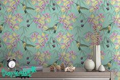 Hummingbird Pattern Wallpaper - Removable Wallpaper - Tropical Flower and Birds Wallpaper - Exotic Wall Sticker - Tropical Wallpaper by TropicWall on Etsy https://www.etsy.com/listing/462501558/hummingbird-pattern-wallpaper-removable