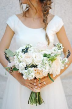 Peach Ivory Blue Bouquet | photography by http://rebekahwestover.com | floral design by http://blossomsweet.com/