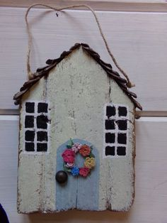 Wall decor  wooden plaque wall hanging cottage with flower wreath