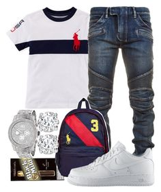A menswear look from July 2016 featuring mens biker jeans, white t shirt and red bag. Browse and shop related looks. Dope Outfits For Guys, Swag Outfits Men, Stylish Mens Outfits, Boy Outfits, Casual Outfits, Men Casual, Casual Clothes, Casual Wear, Teen Boy Fashion