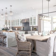 Grey - white modern farmhouse kitchen & dining nook - Our Home Decor Farmhouse Kitchen Lighting, Kitchen Lighting Fixtures, Modern Farmhouse Kitchens, Home Decor Kitchen, Home Kitchens, Kitchen Ideas, Farmhouse Style, Farmhouse Decor, Farmhouse Interior