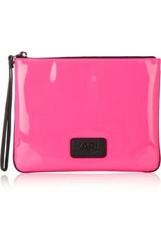 Karl Lagerfeld Neon patent leather pouch.