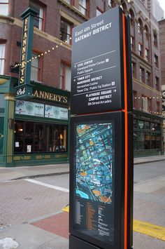 Seamless Cleveland - Applied Wayfinding | Applied Wayfinding Environmental Graphic Design, Environmental Graphics, Pylon Sign, Neon Box, Wayfinding Signs, Retail Signage, Outdoor Signage, Signage Design, Digital Signage