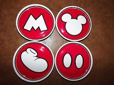 Disney Mickey Mouse red white plastic 4 pc coaster set M buttons shoe collector