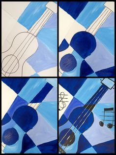 """Evolution of the """"Blue Guitar"""" painted @ Painting with a Twist Miami Guitar Painting, Guitar Art, Blue Guitar, Kunst Picasso, Picasso Art, Pablo Picasso, Picasso Blue, 7th Grade Art, School Art Projects"""