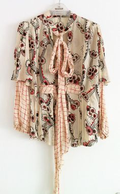 Celia Birtwell Topshop size 10 Mystic Daisy chiffon tie front blouse top wedding