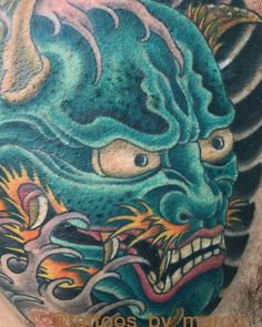 Japanese Oni Mask Tattoo on chest. Following me on Instagram @tattoos_by_marco thanks for checking it out