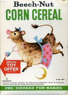 Cute breakfast cereal vintage box art