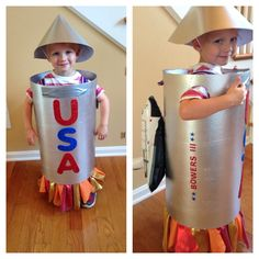 Halloween homemade rocket ship costume