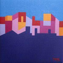 Blue City Sky : Mått: 14x14 cm. Ljusgrå ram 17x17 cm ingår. Teknik: Akryl på duk. Pris: 1600 kr styck.  May Marschal leyman