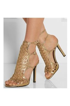 Women Chic Gold Cutout Metallic Leather Sandals High Cut Gladiator Cage Dress Shoes With Buckle Strap Dropship High Heel Pumps, Stilettos, Stiletto Heels, Gold Heels, Pretty Shoes, Beautiful Shoes, Hot Shoes, Shoes Heels, Suede Shoes