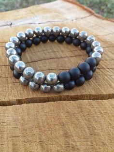MEN Bracelets, Bracelet Stacking, Pyrite and  Matte Onyx Bracelet, Mens Bracelets Set, Black Simple Everyday Bracelets, Classy Gifts For Men on Etsy