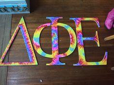 Tie dye wooden Greek letters