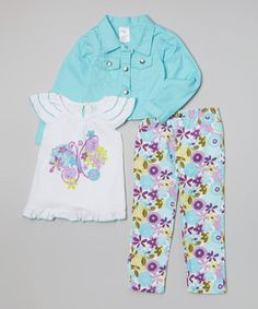 Love this Blue Butterfly Jacket Set - Girls on #zulily! #zulilyfinds