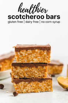 Healthier Scotcheroo Bars (GF+DF) Best Gluten Free Recipes, Gluten Free Treats, Gluten Free Cakes, Gluten Free Desserts, Healthy Treats, Healthy Desserts, Real Food Recipes, Baking Recipes, Snack Recipes