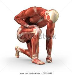 stock photo : Man without skin kneeling on the ground