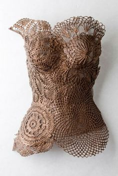 """(Note to self) attach doilies to a cream colored corset (or tank top) to try to recreate this. Could end up being very cool """"Gypsy Boho Chic Steampunk ! Art Mannequin, Mannequin Torso, Belly Casting, Crochet Art, Freeform Crochet, Crochet Patterns, Dress Form, Mannequins, Textile Art"""