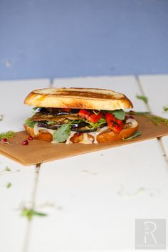 Vegan Mediterranean Grilled Cheese Sandwich with Walnut Pesto Seitan and Kalamata Olive Dijon Spread