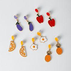 2012d8b89 US $5.6 |Korean Fashion Cute Harajuku Orange Pineapple Fruit Poached Egg  Drops Creative Earrings Female Jewelry-in Stud Earrings from Jewelry &  Accessories ...