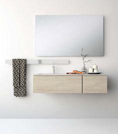 UNIBAÑO-Pack110-Baño Mueble de baño con encimera de 120cm y mueble portalavabo 2 cajones.Espejo de baño. Barra para accesorios de baño. PVP Recomendado 1105€