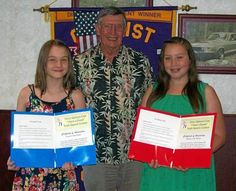 "On May 21 the Chico Optimist Club recognized winners from the club's ""I Have a Dream"" speech contest held March 14. Larry Jendro (center) is presenting certificates of appreciation to Kayla Padgett (left), first place winner and Kylie Thompson (right), second place winner."