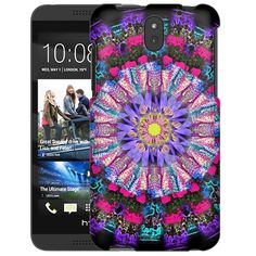 HTC Desire 610 Mandala Flower Purple Yellow on Black Slim Case