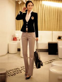 New Korean Women Two Button Long Sleeve Small Tailored Suit