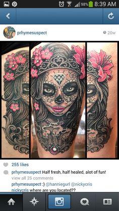 This is so f***ing dope.. I want a sugar skull tattoo sooooooooo bad!