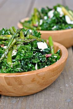 Massaged Kale Salad with Asparagus, Asiago, and Bacon @FoodBlogs