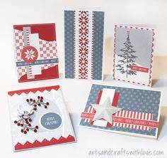 Christmas cards in clean and simple Scandinavian style. Made using free Sizzix digital papers.  -by Elina Stromberg-
