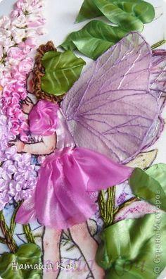"""Картина, панно Вышивка: Моя """"Фея Сирени"""". Вышивка лентами. Ленты. Фото 2"""
