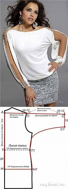 Блузка, шитье для начинающих с выкройками  Эту красивую блузку можно сшить из…