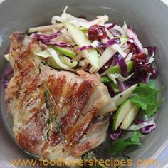 Serves 4 Difficulty: easy Prep time: 15 minutes Cooking time: +- 20 minutes Ingredients: 4 pork loin chops, fat trimmed off 16 slices streaky bacon (+- 400 g) 4 Sprigs thyme Zest of 1 lemon 500 ml (2 cups) shredded red and white cabbage ½ red onion, thinly sliced 1 granny smith apple, sliced …