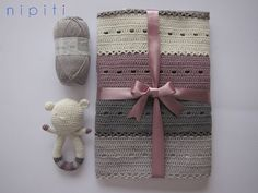 Modern Crochet Baby Blanket and Teddy Bear rattle - Cashmere and Cotton - Baby shower
