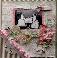 Vintage Tea With Friends Premade Graphic 45 Botanical Tea Scrapbook Page 12 x 12 Vintage, Shabby Chic,  Layout