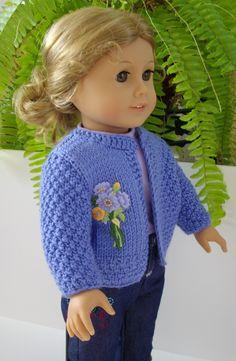 "Knitting Pattern  American Girl Doll 18"" doll blue cardigan jacket with applique PDF format. $6.00, via Etsy."