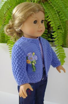 """American Girl Doll Knitting Pattern blue cardigan jacket with applique 18"""" doll…"""