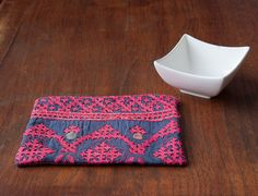Handmade candle mat - mini wallhanging - coaster - mug rug recycled from a vintage Indian kutchi tapestry by AndindaDesign on Etsy purple pink hand embroidery mirrorwork